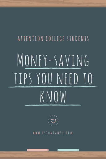 Chalk board, handwritten note telling college students they need to learn these money-saving tips